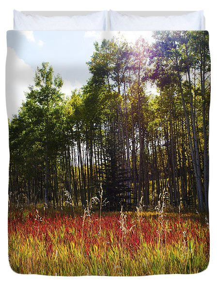Blazing Red Grass In Colorado Duvet Cover