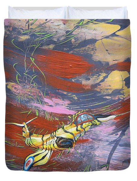 Blazing Starfighter Duvet Cover