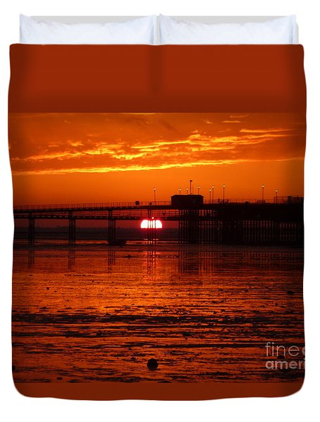 Duvet Cover featuring the photograph Blazing Sunset by Vicki Spindler
