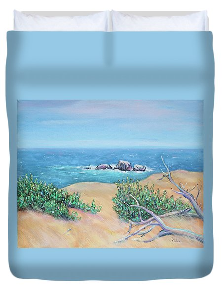 Duvet Cover featuring the painting Bleached Cedar And Ocean Rocks by Asha Carolyn Young