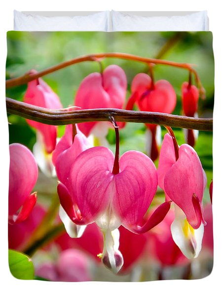 Duvet Cover featuring the photograph Bleeding Heart Flowers by Kristen Fox