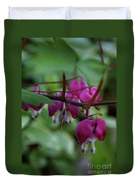 Duvet Cover featuring the photograph Bleeding Heart by Linda Shafer