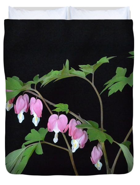 Duvet Cover featuring the photograph Bleeding Hearts 2 by Jeannie Rhode