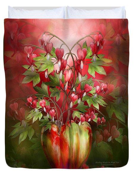 Duvet Cover featuring the mixed media Bleeding Hearts In Heart Vase by Carol Cavalaris
