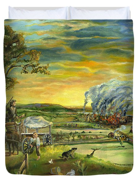 Duvet Cover featuring the painting Bleeding Kansas - A Life And Nation Changing Event by Mary Ellen Anderson