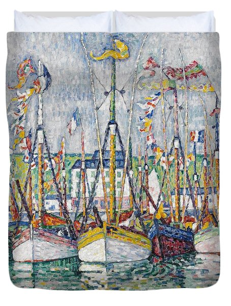 Blessing Of The Tuna Fleet At Groix Duvet Cover by Paul Signac