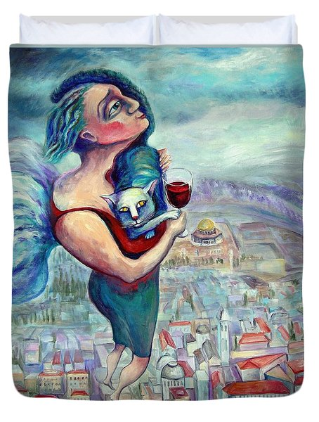 Blessing Over The Wine Duvet Cover by Elisheva Nesis