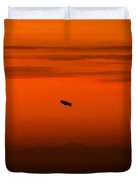 Blimp At Dusk Duvet Cover