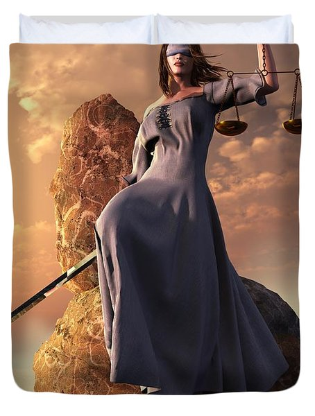 Blind Justice With Scales And Sword Duvet Cover