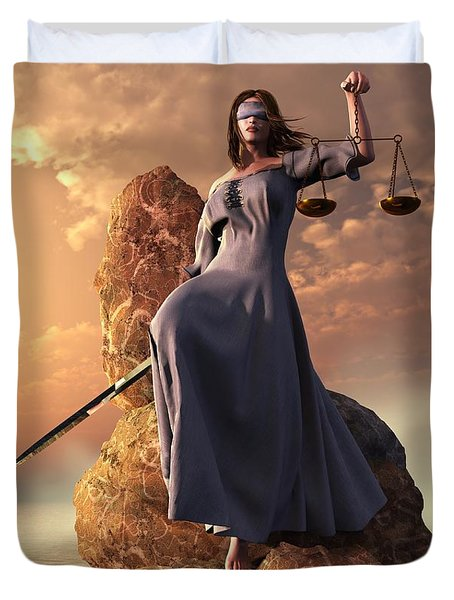 Duvet Cover featuring the digital art Blind Justice With Scales And Sword by Daniel Eskridge