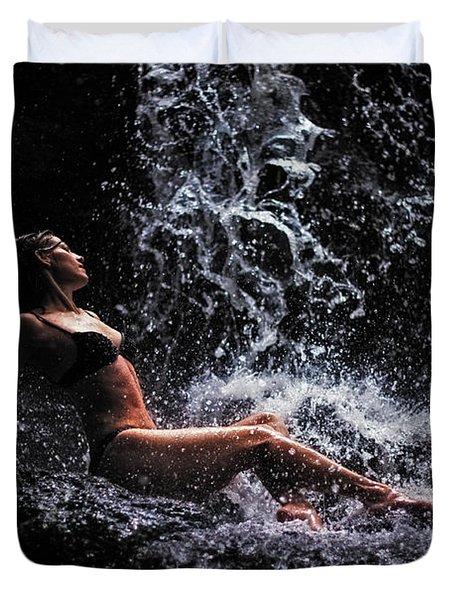 Bliss. Anna At Eureka Waterfalls. Mauritius Duvet Cover by Jenny Rainbow