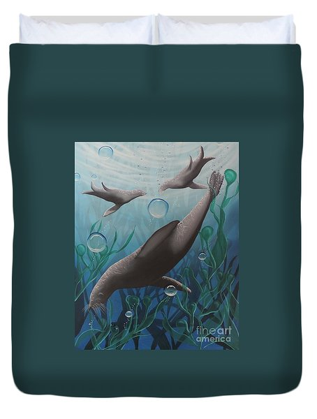 Duvet Cover featuring the painting Bliss by Dianna Lewis