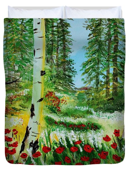 Duvet Cover featuring the painting Bliss by Leslie Allen