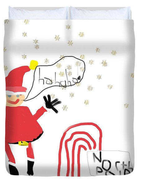 Blizzard In The North Pole Duvet Cover by My seven year old