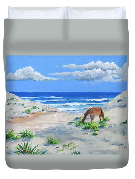Blonde On The Beach Duvet Cover