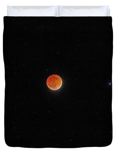 Duvet Cover featuring the photograph Blood Moon And Stars by Martin Konopacki