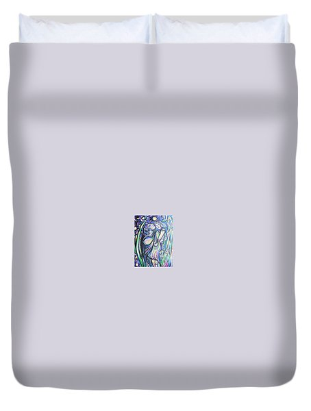 Duvet Cover featuring the painting Bloomed by Dawn Fisher