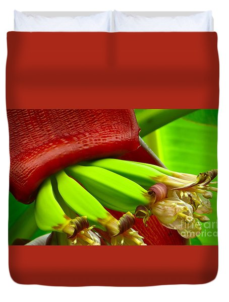 Duvet Cover featuring the photograph Blooming Bananas by Joy Hardee