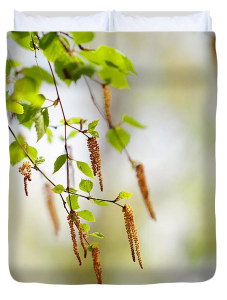 Blooming Birch Tree Duvet Cover by Jenny Rainbow