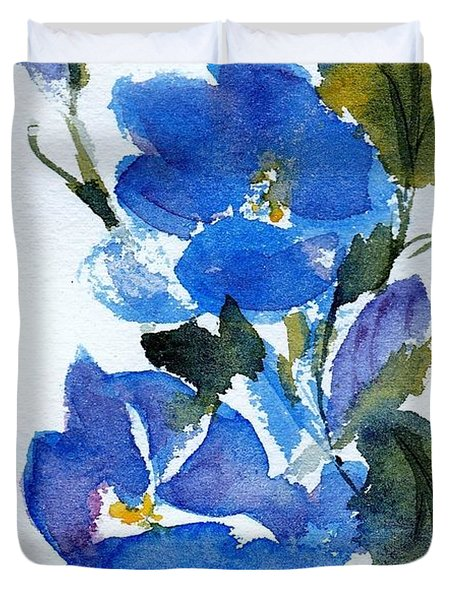 Duvet Cover featuring the painting Blooming Blue by Anne Duke