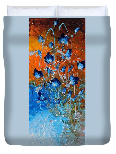 Blooming In Blue Duvet Cover