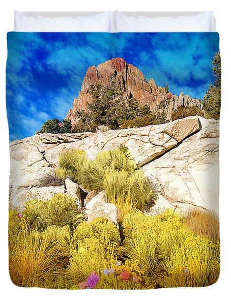 Duvet Cover featuring the photograph Blooming Nevada Desert Near Ely by Gunter Nezhoda