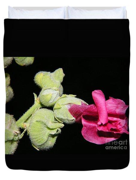 Blooming Pink Hollyhock Duvet Cover