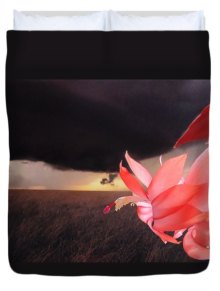 Duvet Cover featuring the photograph Blooms Against Tornado by Katie Wing Vigil