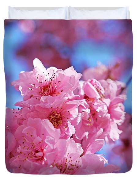 Blossom Flowers Trees Art Prints Duvet Cover by Baslee Troutman