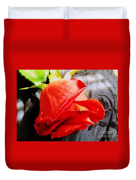 Duvet Cover featuring the photograph Blossoming Red by Robyn King