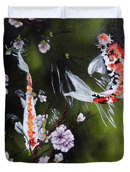 Blossoms And Koi Duvet Cover by Carol Avants