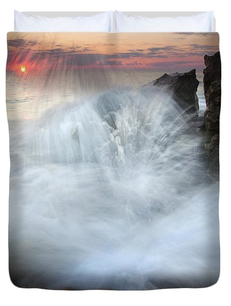Blowing Rocks Sunrise Explosion Duvet Cover by Mike  Dawson