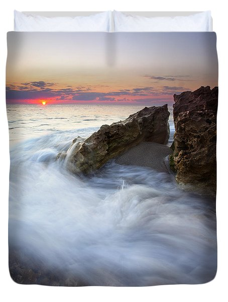 Blowing Rocks Sunrise Duvet Cover by Mike  Dawson