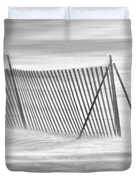 Blowing Snow At Snow Fence  Duvet Cover by Dan Friend