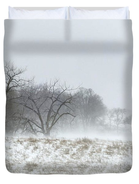 Blowing Snow Over Fields And Forest Duvet Cover