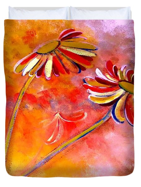 Duvet Cover featuring the painting Blown Backward Fall Floral by Lisa Kaiser