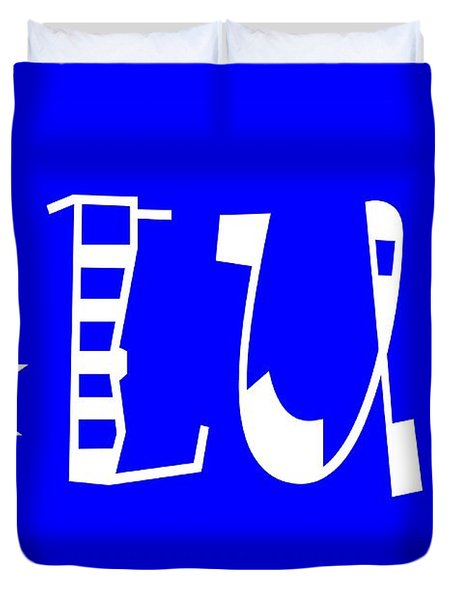 Blue - Primary Color - Letter Art Duvet Cover by Barbara Griffin
