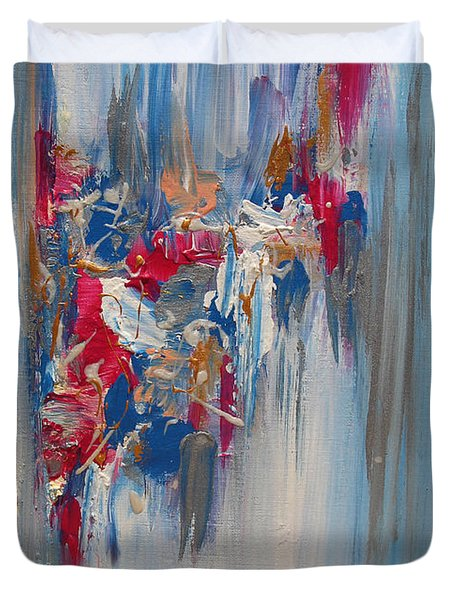 Blue Abstract Landscape Duvet Cover
