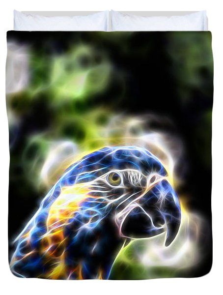 Blue And Gold Macaw V4 Duvet Cover by Douglas Barnard