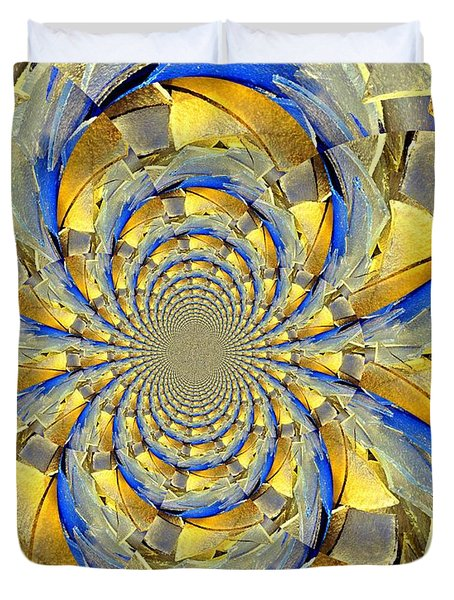 Blue And Gold Duvet Cover by Marty Koch