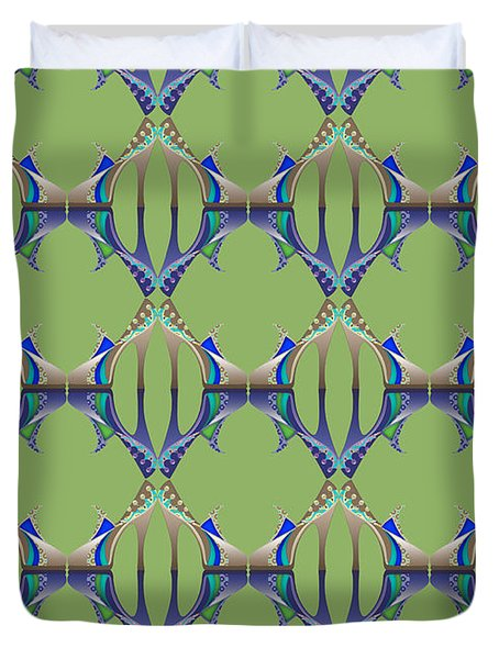 Blue And Green Mules Duvet Cover