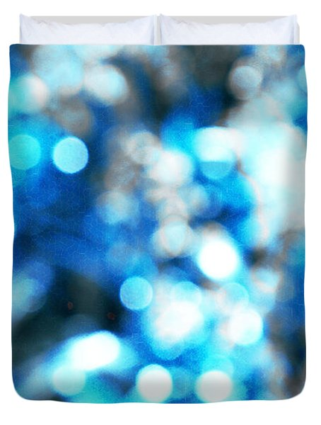 Duvet Cover featuring the digital art Blue And White Bokeh by Fine Art By Andrew David