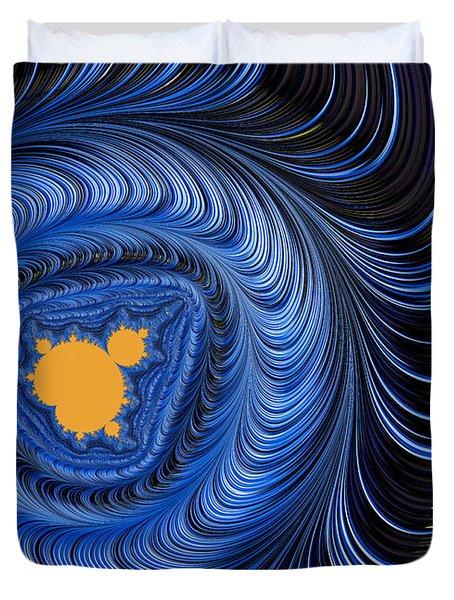Blue And Orange Abstract Mandelbrot Fractal Art Duvet Cover