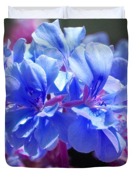 Duvet Cover featuring the photograph Blue And Purple Flowers by Matt Harang