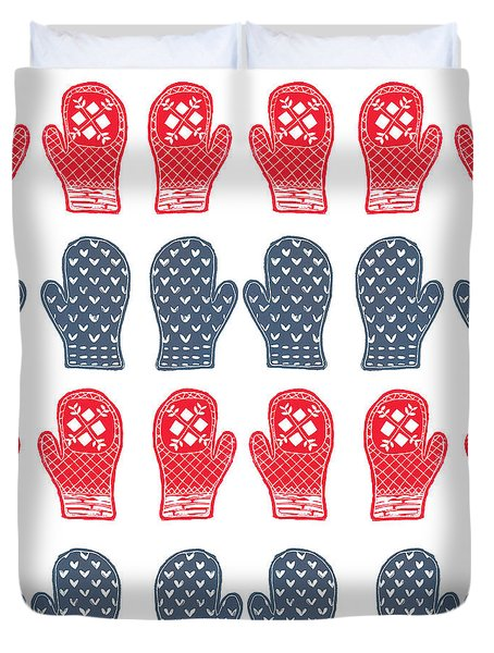 Blue And Red Mitten Pattern Duvet Cover