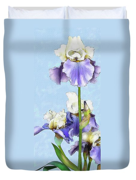 Duvet Cover featuring the digital art Blue And White Iris by Jane Schnetlage