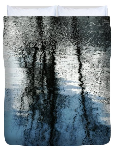 Blue And White Reflections Duvet Cover