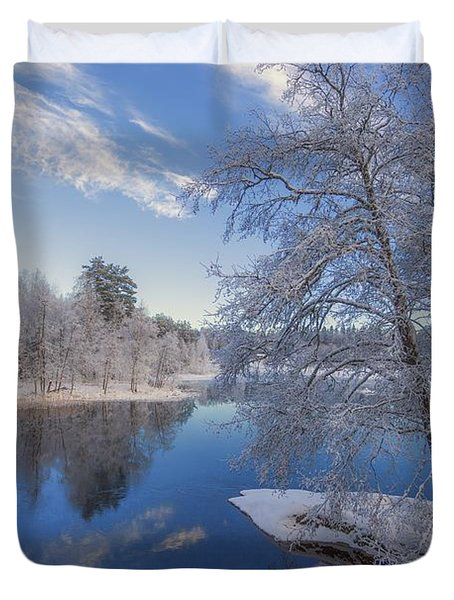 Duvet Cover featuring the photograph Blue And White by Rose-Maries Pictures