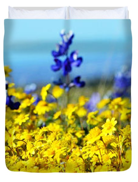 Blue And Yellow Wildflowers Duvet Cover