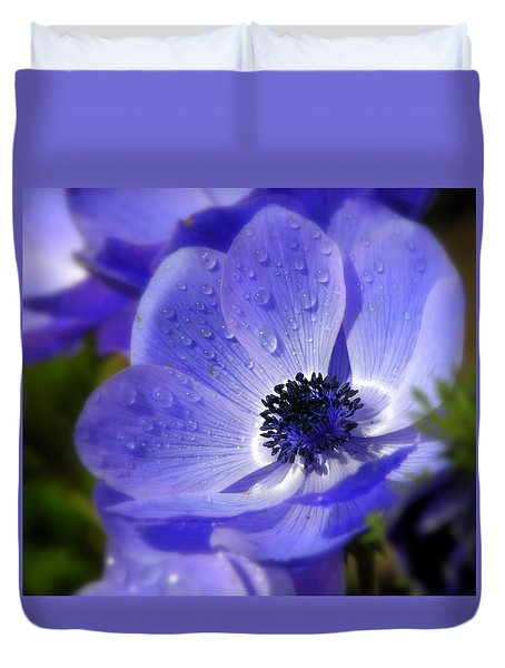 Blue Anemone Duvet Cover by Martina  Rathgens